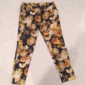 Zara navy floral work ankle pants